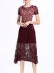 Burgundy Floral Print Pleated Guipure Short Sleeve Midi Dress
