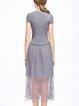 A-line Short Sleeve Crew Neck Elegant Beaded Midi Dress
