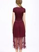Burgundy Ruffled Polyester Short Sleeve Midi Dress