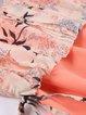 Pink A-line Floral Short Sleeve Cotton-blend Midi Dress