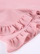 Pink Two Piece Solid Frill Sleeve Rompers