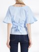 Blue Solid Bow Casual Polyester Blouse