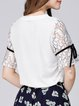 White Girly Guipure Lace Crew Neck Top