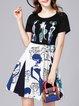 Casual Short Sleeve Printed A-line Midi Dress