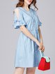 Light Blue Half Sleeve Stand Collar Midi Dress