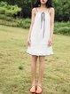 White H-line Spaghetti Ruched Midi Dress
