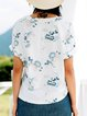 White Floral Crew Neck Cotton-blend Short Sleeve T-Shirt