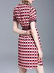 Casual A-line Short Sleeve Printed Abstract Midi Dress