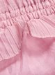 Ruffled Cold Shoulder Beaded Chiffon Girly Crew Neck Midi Dress