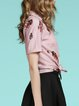 Pink Bow Graphic Printed Buttoned Short Sleeve Shirt Collar Blouse