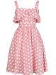 Pink Buttoned Spaghetti Polka Dots Elegant A-line Midi Dress