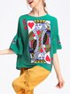 Green Printed H-line Bell Sleeve Graphic Blouse