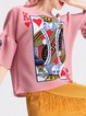 Pink Graphic Printed Polyester Bell Sleeve Blouse