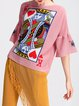 Pink Graphic Printed Bell Sleeve Tops