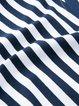 Blue Stripes Paneled 3/4 Sleeve  Cotton-blend Tunic