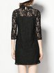 Black H-line Peter Pan Collar Casual Guipure Lace Mini Dress