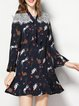 Printed Cotton-blend Casual Frill Sleeve Mini Dress