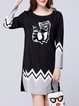 Black Printed Crew Neck Casual Animal Mini Dress