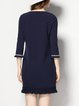 Navy Blue Casual Fringed Cotton-blend Mini Dress