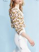 Multicolor V Neck Chiffon Lace Up 3/4 Sleeve Tops