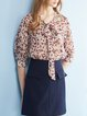 Casual V Neck Floral-print 3/4 Sleeve Blouse