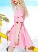 Pink Cold Shoulder Frill Sleeve Letter Printed Girly Mini Dress