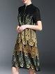 Black Elegant A-line Stand Collar Printed Chiffon Dress