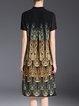 Black Elegant A-line Stand Collar Printed Midi Dress