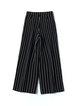 Black Printed Casual Stripes Wide Leg Pants