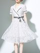 White Lapel Bow Shorts Sleeve Guipure Lace Midi Dress