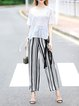 White-black Casual Stripes Wide Leg Pants