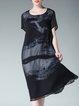 Black Short Sleeve Chiffon Printed Casual Midi Plus Size Dress