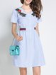 Light Blue V Neck Casual A-line Midi Dress