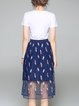 Blue Crew Neck Casual Embroidered Two Piece Midi Dress