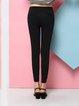 Black Casual Solid Straight Leg Pants
