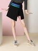 Black Solid Casual  Printed Mini Skirt