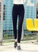 Black Solid Casual Skinny Leg Pants