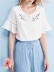Crew Neck Embroidered Bell Sleeve Polyester Casual Tops