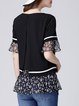 Black Crew Neck Paneled Floral-print Polyester Bell Sleeve Blouse