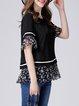 Black Crew Neck Paneled Floral-print Polyester Bell Sleeve Blouse