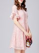 Pink A-line Polyester Girly Ruffled  Lace Crocheted Midi Dress