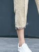 Apricot Casual Solid Linen Straight Leg Pants