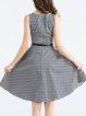 Black Elegant Printed Geometric Midi Dress