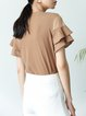 Casual Frill Sleeve Crew Neck Solid Top