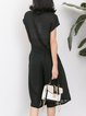 Black Short Sleeve Shirt Collar Two Piece Rompers