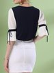 Black Knitted Solid Frill Sleeve T-Shirt