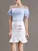 Blue Two Piece Off Shoulder Bow Ruffled Casual Flounce Midi Dress