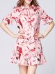 Pink Frill Sleeve Flounce Crew Neck Printed Mini Dress