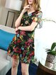 Black Frill Sleeve Ruffled Flounce Floral Mini Dress