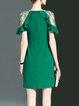 Green Crew Neck Elegant Ruffled Polyester Mini Dress